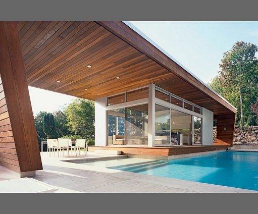 new york firm hariri hariri designs an almost midcentury poolhouse in suburban connecticut the pool pavilion is very sculptural however still feels light